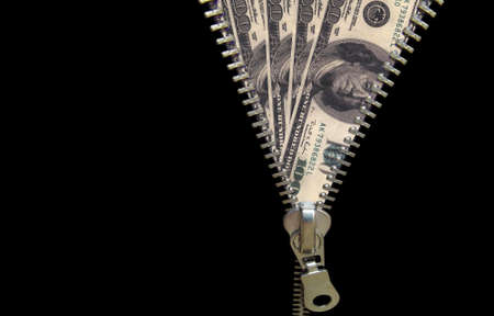 Zipper concept. Discover money, revealing economy Stock Photo - 343222