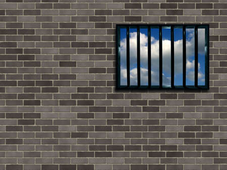 Latticed prison window, clear sky beyond Stock Photo - 366149