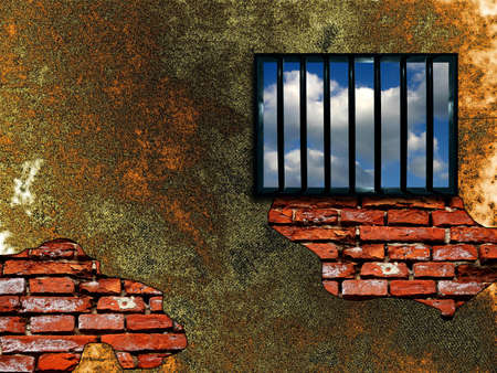 Latticed prison window, clear sky beyond Stock Photo - 366147