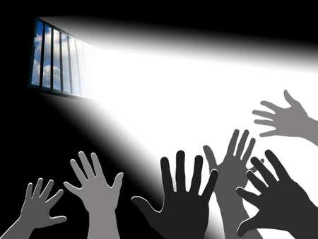 Reaching the sky.. Light through the latticed prison window Stock Photo - 366136