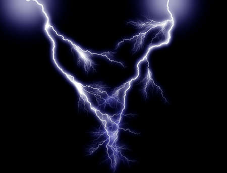 Blue double Lightning, from above, centered Stock Photo - 864782