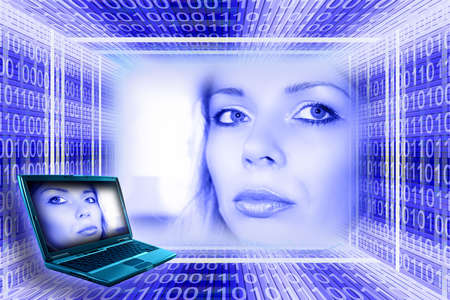 Information technology concept. A luminous girl, digital tunnel and laptop Stock Photo - 954274