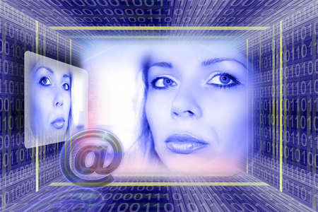Information technology. E-mail concept with a luminous girl portrait Stock Photo - 954279