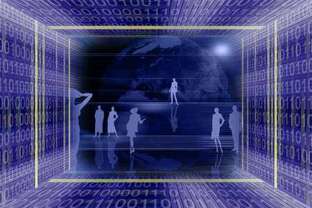 Information technologies and global business scene. Binary code tunnel and people silhouettes Stock Photo - 954509