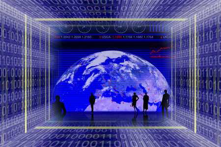 Information technologies and global business scene. Binary code tunnel and people silhouettes Stock Photo - 954510