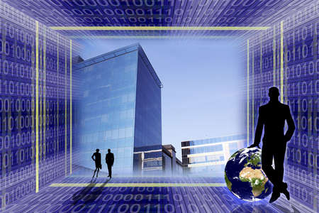 Global business concept. Office buildings in the center Stock Photo - 954520