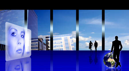 Stylized business office inter with woman's hologram, people silhouettes and the Earth planet Stock Photo - 960392