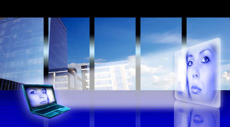 Stylized business office interior with woman's hologram and laptop Stock Photo - 960393