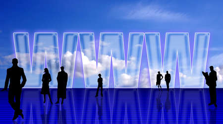 Plain WEB simbolic background with people silhouettes, against blue sky Stock Photo - 960395