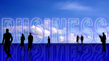Plain Business simbolic background with people silhouettes, against blue sky Stock Photo - 960396