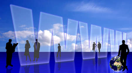 Global Information technology, Internetweb concept. People silhouettes and the Earth