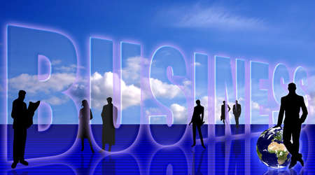 Business simbolic background with people silhouettes and the Earth planet