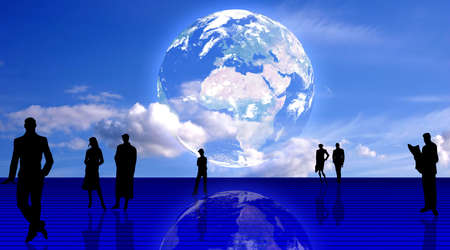 Plain people team background. People silhouettes and the Earth planet Stock Photo
