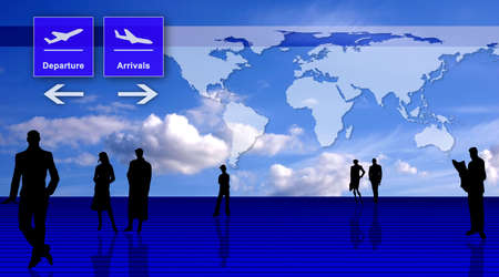 Stylized airport office interior with people silhouettes and world map Stock Photo