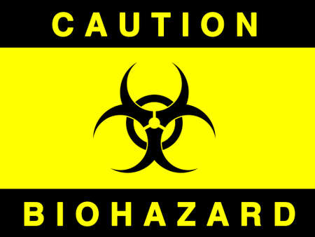 Biohazard sign- isolated against white  Imagens