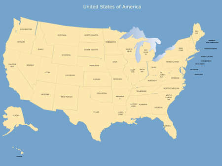 USA map with names of states