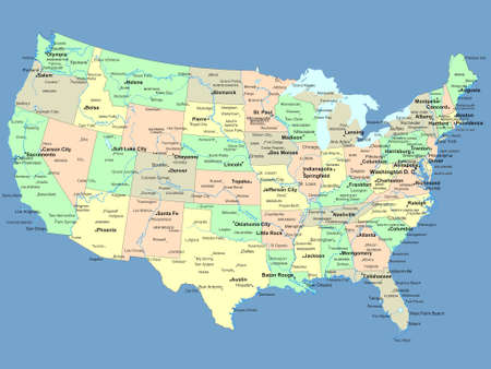Us Map States With Names Globalinterco - Isothermal map of us