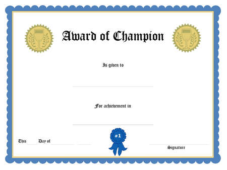 sports form: Bianche certificato sotto forma di aggiudicazione