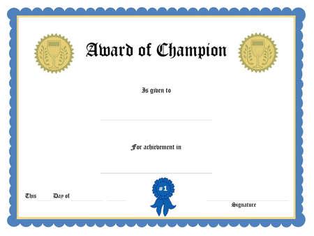 Blank award certificate form Stock Photo