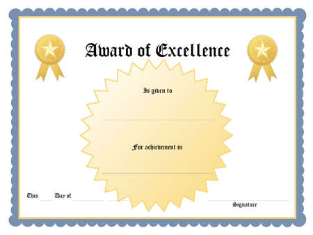 accolade: Blank award certificate form Stock Photo