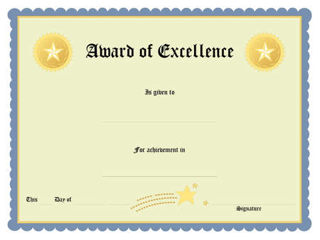 Blank award certificate form Stock Photo