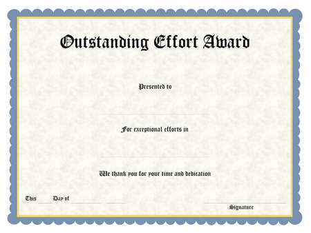 acknowledge: Blank award certificate form Stock Photo
