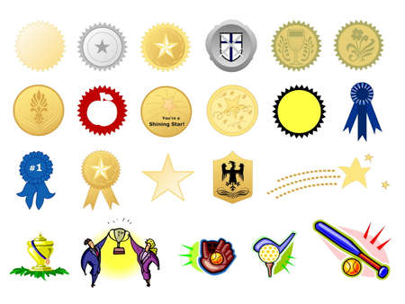 honorable: Award seals, isolated against white background Stock Photo