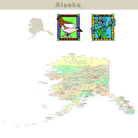 kodiak: USA states series: Alaska. Political map with counties, roads, states contour, bird and flower