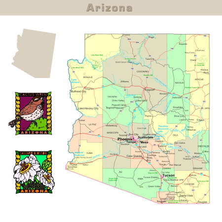 USA states series: Arizona. Political map with counties, roads, states contour, bird and flower
