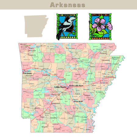 smith: USA states series: Arkansas. Political map with counties, roads, states contour, bird and flower