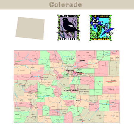 USA states series: Colorado. Political map with counties, roads, states contour, bird and flower Stock Photo
