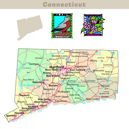 bristol: USA states series: Connecticut. Political map with counties, roads, states contour, bird and flower