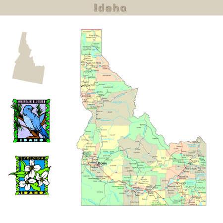 �tats-Unis �tats s�rie: l'Idaho. Carte politique de comt�s, les routes, l'�tat du contour, d'oiseaux et de fleurs  Banque d'images