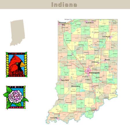 mapa politico: EE.UU. afirma serie: Indiana. Mapa pol�tico con los condados, las carreteras, del estado de contorno, aves y flores
