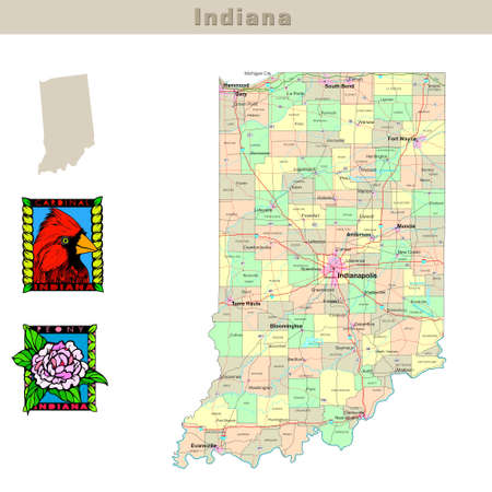 counties: USA states series: Indiana. Political map with counties, roads, states contour, bird and flower