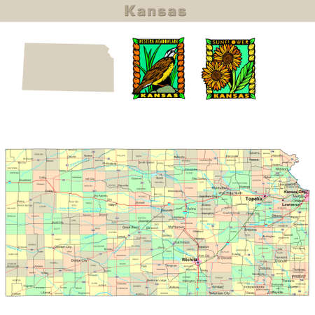 counties: USA states series: Kansas. Political map with counties, roads, states contour, bird and flower