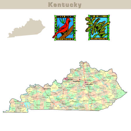 kentucky: USA states series: Kentucky. Political map with counties, roads, states contour, bird and flower