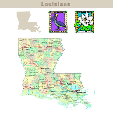 louisiana state: USA states series: Louisiana. Political map with counties, roads, states contour, bird and flower