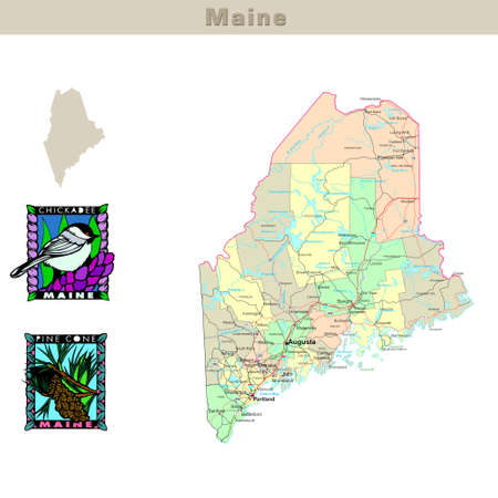 USA states series: Maine. Political map with counties, roads, states contour, bird and flower photo