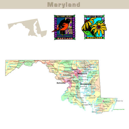 bethesda: USA states series: Maryland. Political map with counties, roads, states contour, bird and flower Stock Photo