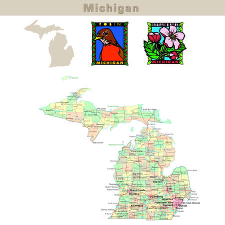 michigan: USA states series: Michigan. Political map with counties, roads, states contour, bird and flower Stock Photo