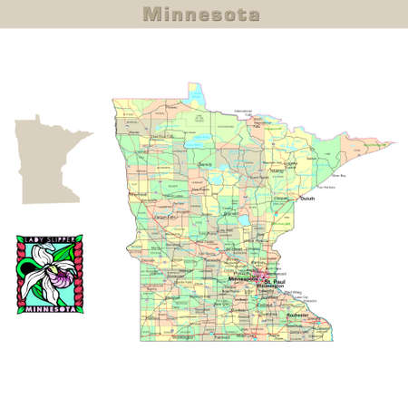 counties: USA states series: Minnesota. Political map with counties, roads, states contour, bird and flower