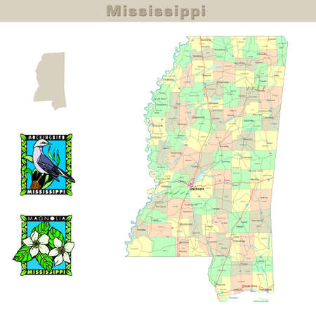 territorial: USA states series: Mississippi. Political map with counties, roads, states contour, bird and flower Stock Photo
