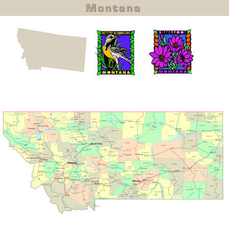 helena: USA states series: Montana. Political map with counties, roads, states contour, bird and flower