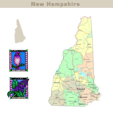 hampshire: EE.UU. afirma serie: Nueva Hampshire. Mapa pol�tico con los condados, las carreteras, el contorno del estado, aves y flores