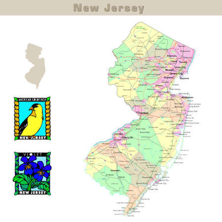 earth road: USA states series: New Jersey. Political map with counties, roads, states contour, bird and flower
