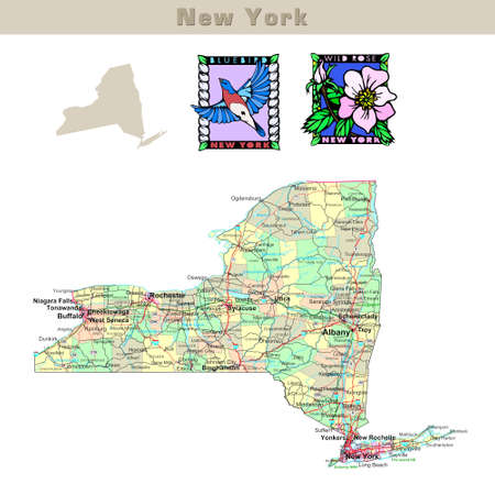 troy: USA states series: New York. Political map with counties, roads, states contour, bird and flower Stock Photo
