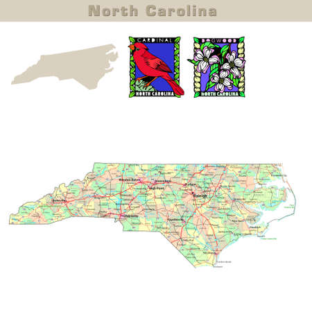 charlotte: USA states series: North Carolina. Political map with counties, roads, states contour, bird and flower Stock Photo