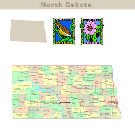 dakota: USA states series: North Dakota. Political map with counties, roads, states contour, bird and flower
