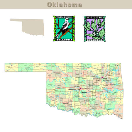 oklahoma: USA states series: Oklahoma. Political map with counties, roads, states contour, bird and flower